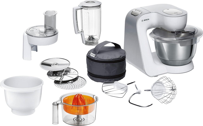 Bosch MUM58243 - Robot de cocina (1000 W, acero inoxidable) + accesorios, color blanco