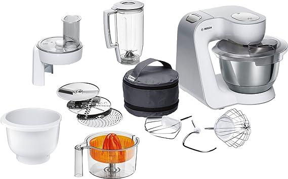 Bosch MUM58243 Küchenmaschine CreationLine, 1000 W, 3,9 l Edelstahl-Rührschüssel, 3D Rührsystem, 7 Schaltstufen, weiß/silber
