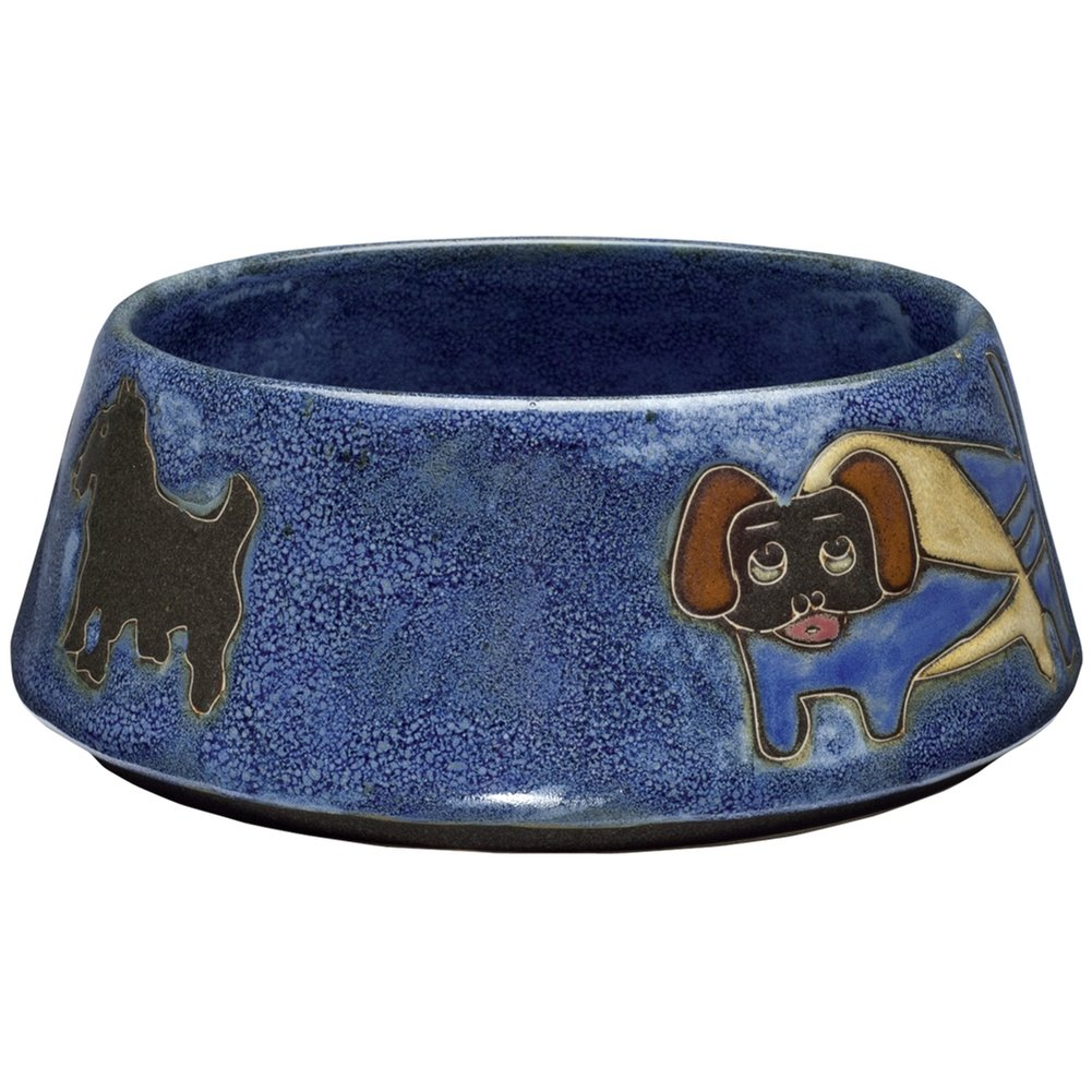 Animal World - Dogs Playing Large Blue Doggie Dish