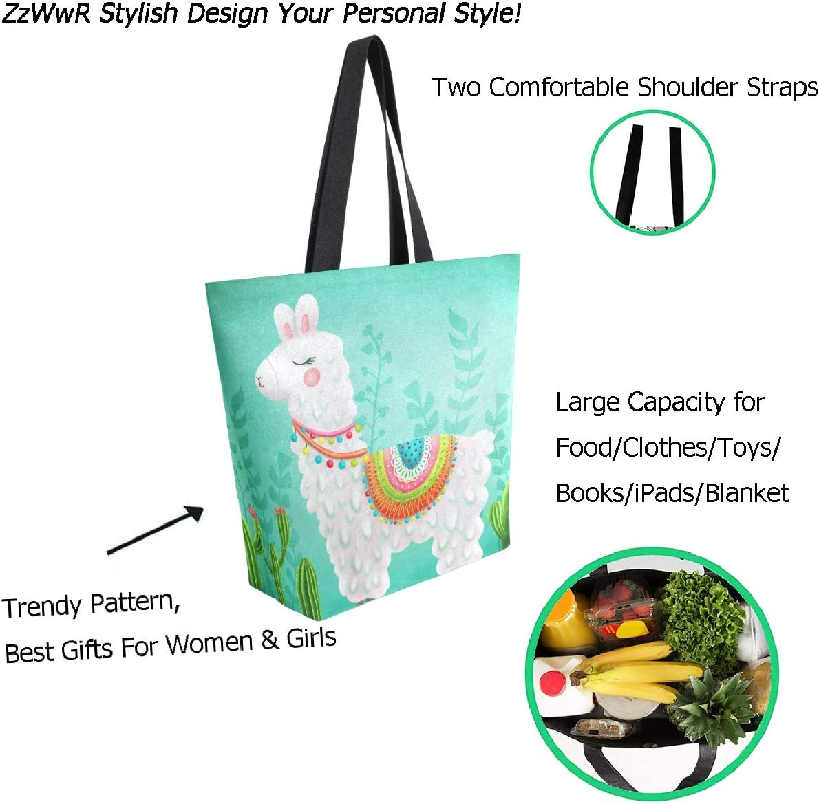 Women Folk Art Dinosaurs Large Tote Bag Shoulder Bag Lightweight For Gym Hiking Picnic Travel Beach Waterproof Handbag