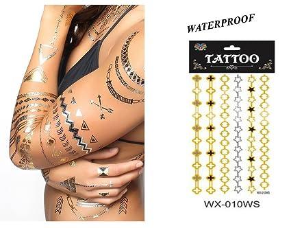 Tattoo Bijou Body Jewel adhesivo pulsera plateado & Dorado tatuaje ...