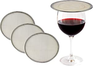 """HOME-X Stainless-Steel Drink Covers, Mesh Discs for Drinking Outdoors, Ventilated Outdoor Beverage Covers, Keep Bugs Out, Reduces Splashing - Fits Wine Glasses & other Drinking Cups-4 Pack-4"""" D"""