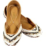 JOPELLE Do All Things with Kindness Handcrafted Leather Hand-Embroidered Punjabi Juttis Mojari for Women