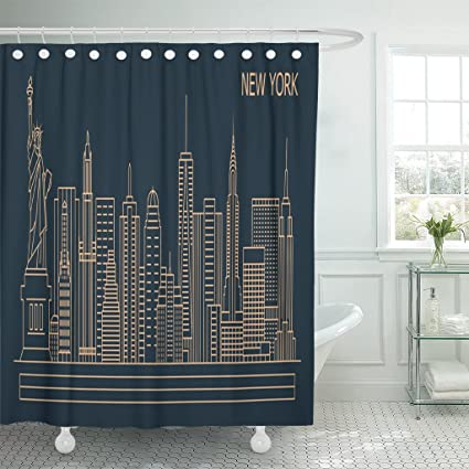 Emvency Shower Curtain NYC New York City Linear Style Skyline With Buildings Towers Line Cityscape Waterproof