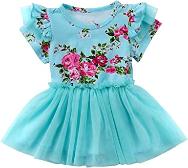 Newborn Infant Girls Ruffle Long Sleeve Floral Dress Casual Party Xams Dress UI