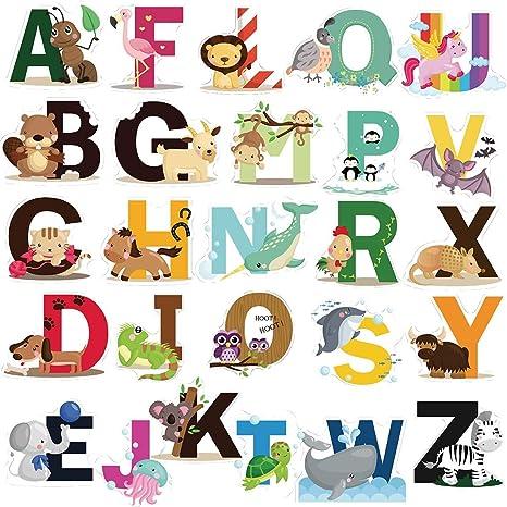 Animal Alphabet Decals Colorful Animal Alphabet A-Z Kids Wall Stickers Baby Nursery Peel Wall Art Sticker for Kids Nursery Bedroom Living Room
