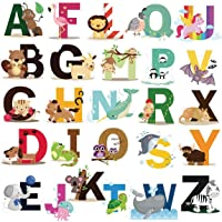 DEKOSH Educational Animal Alphabet Kids Wall Decals - Baby Nursery Decor Peel Stick Decorative Baby Stickers for…