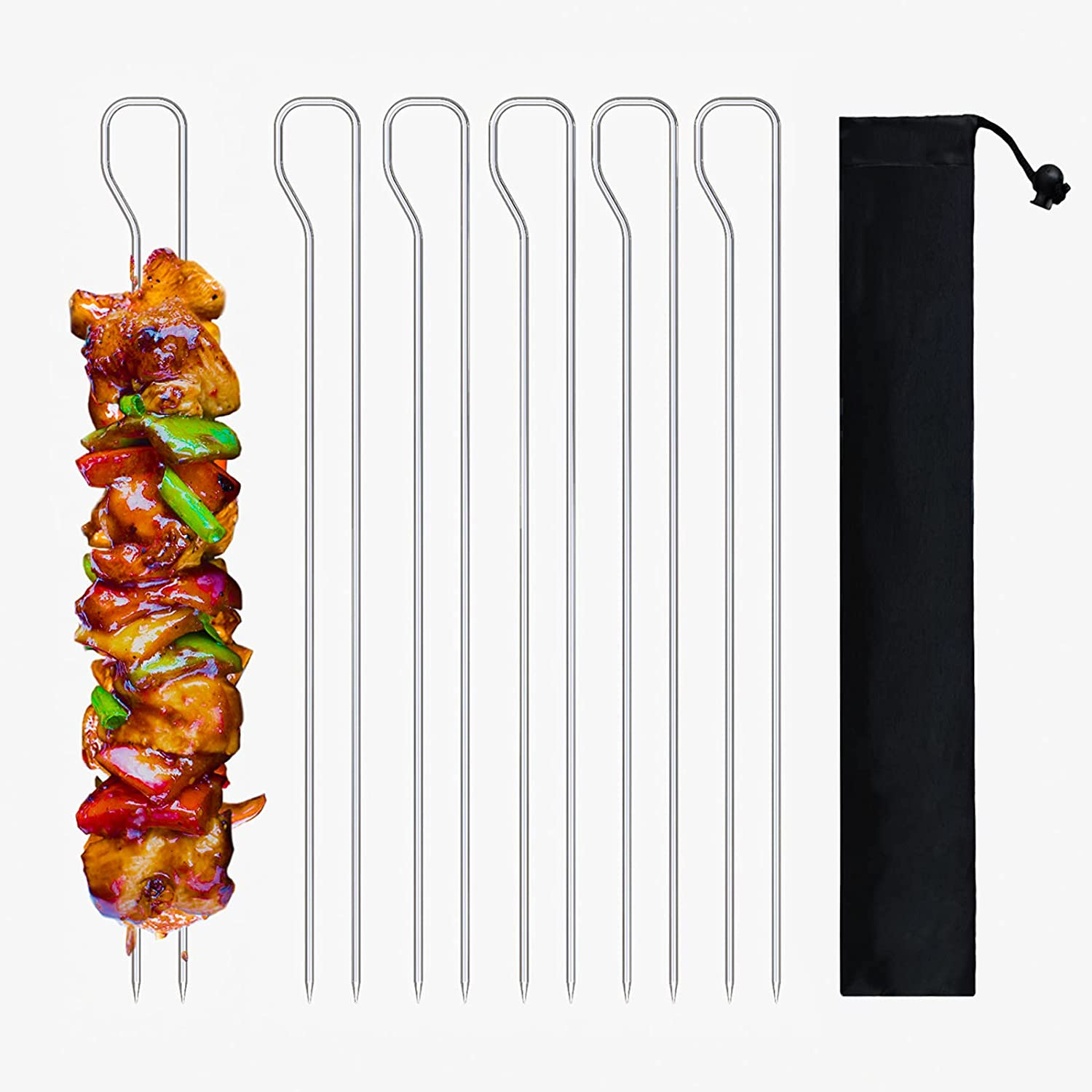 Ami Barbecue Skewers, Stainless Steel 12 Inch Set of 6 Reusable Double Prong BBQ Kabob Metal Shish Sticks for Grilling