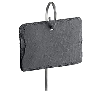 """GardenMate 5-Pack Natural Style Slate Plant Labels (4"""" x 2 3/4"""") Hanging from a Stainless Steel Metal Rod (17"""")"""