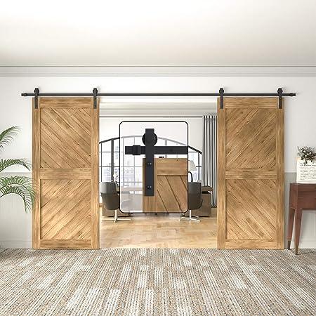 Amazon Com Winsoon 5 18ft Sliding Barn Wood Door Hardware Cabinet Closet Kit Antique Style For Double Doors Black Surface 15ft 180 2 Doors Track Kit Home Improvement