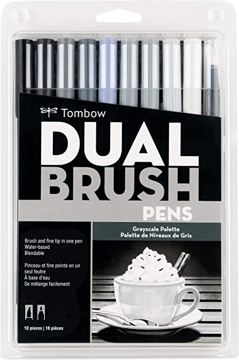 Art Markers 10-Pack Blendable Secondary Brush and Fine Tip Markersy