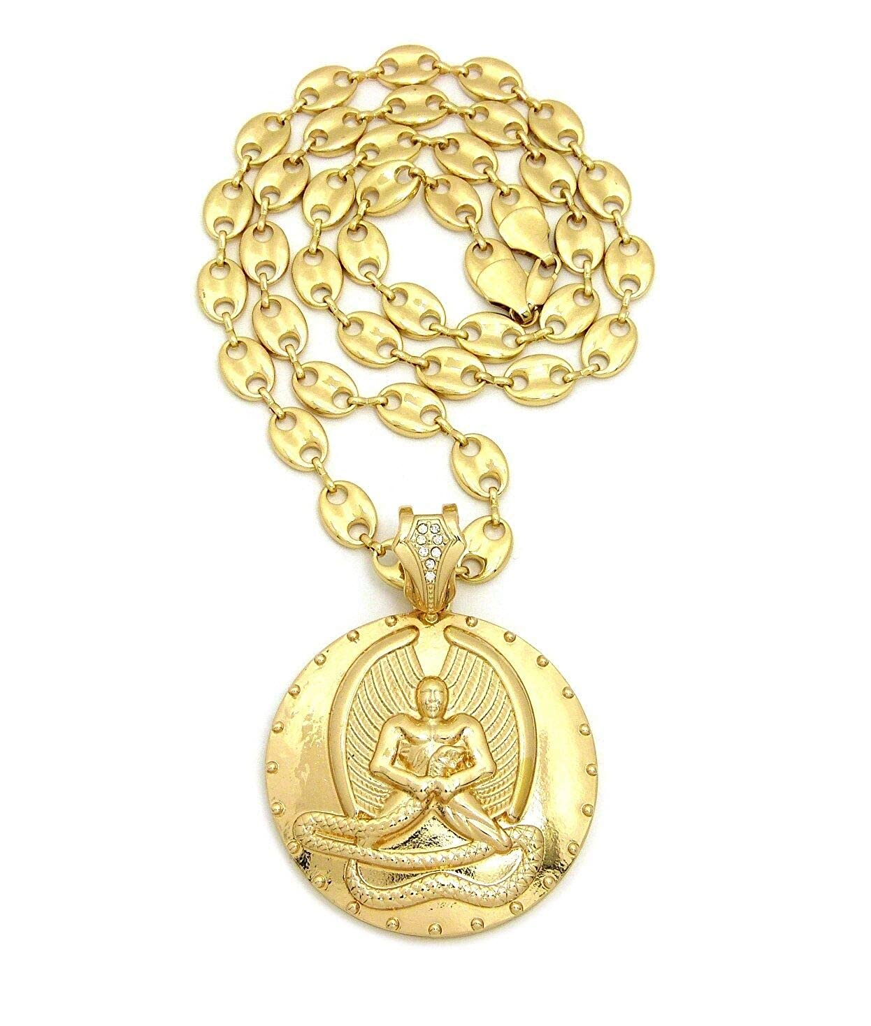 BLINGFACTORY Hip Hop Gold Plated EUPHANASIA Pendant /& 30 10mm Marina Chain Necklace
