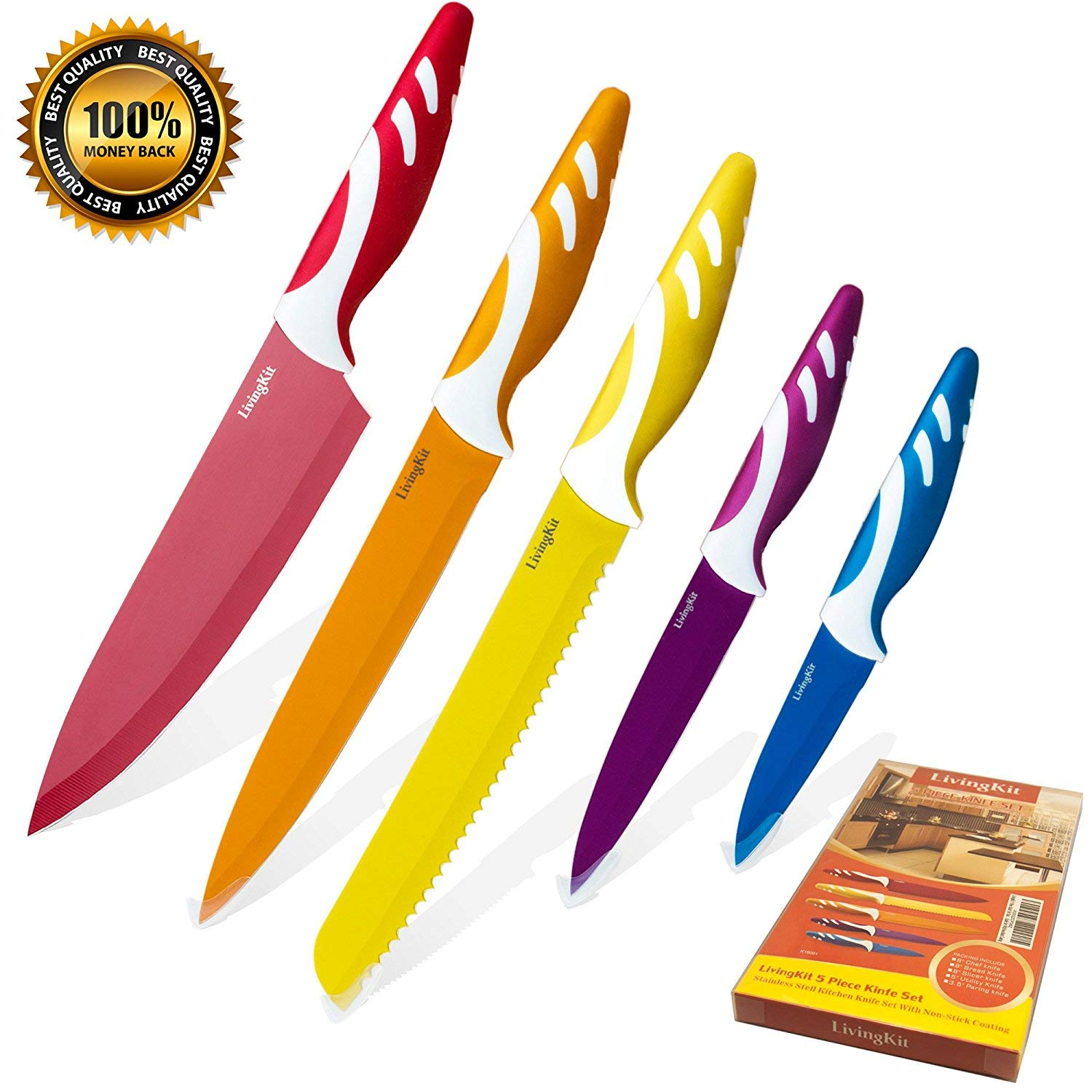 LivingKit Chef Knife Set 5 Pieces Stainless Steel Blades NonStick Coating Chef Slicer Bread Utility and Paring Knife for Housewarming Commercial Home Kitchen