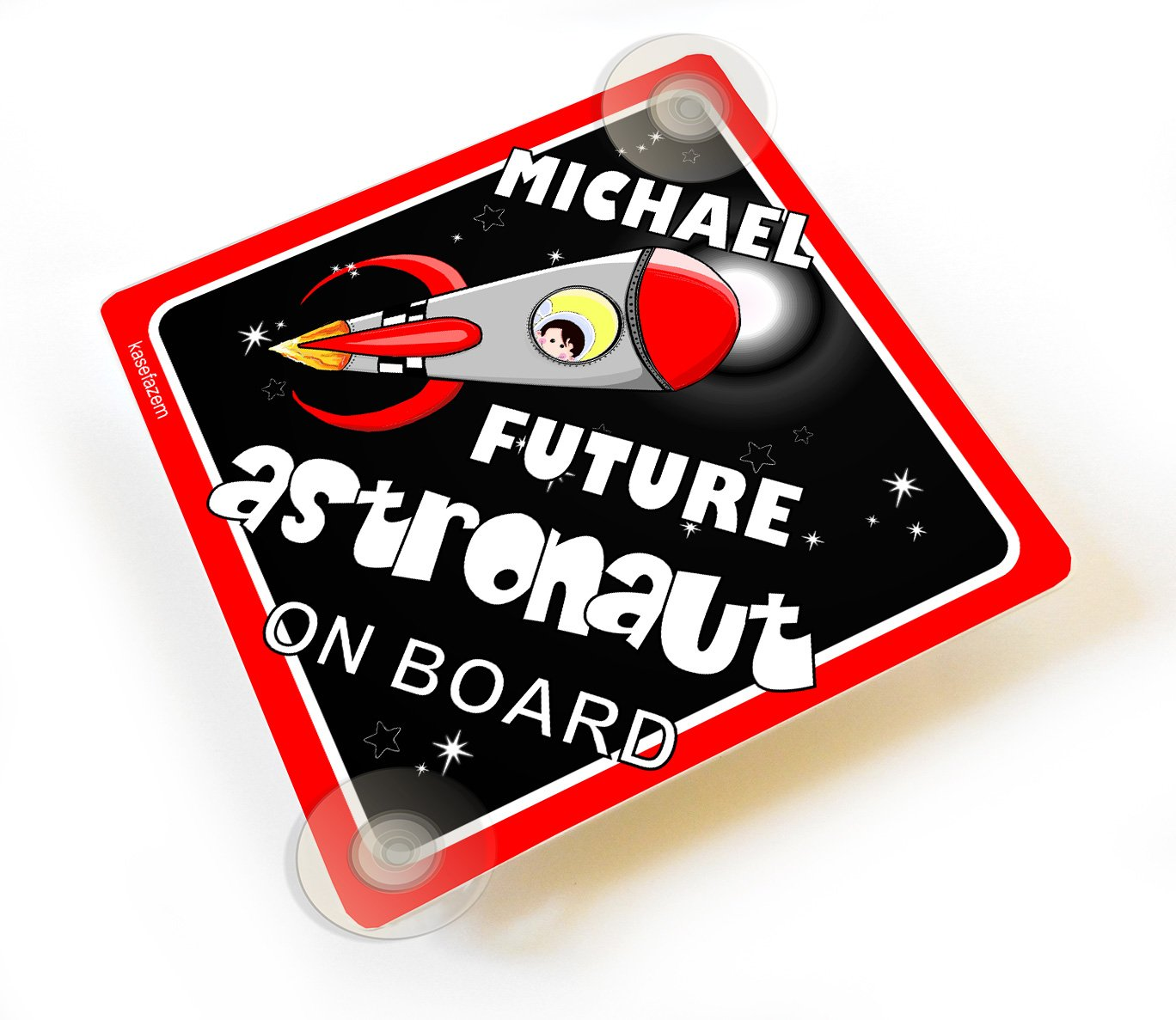Space Rocket Ship Personalizable Future Astronaut on Board Car Sign