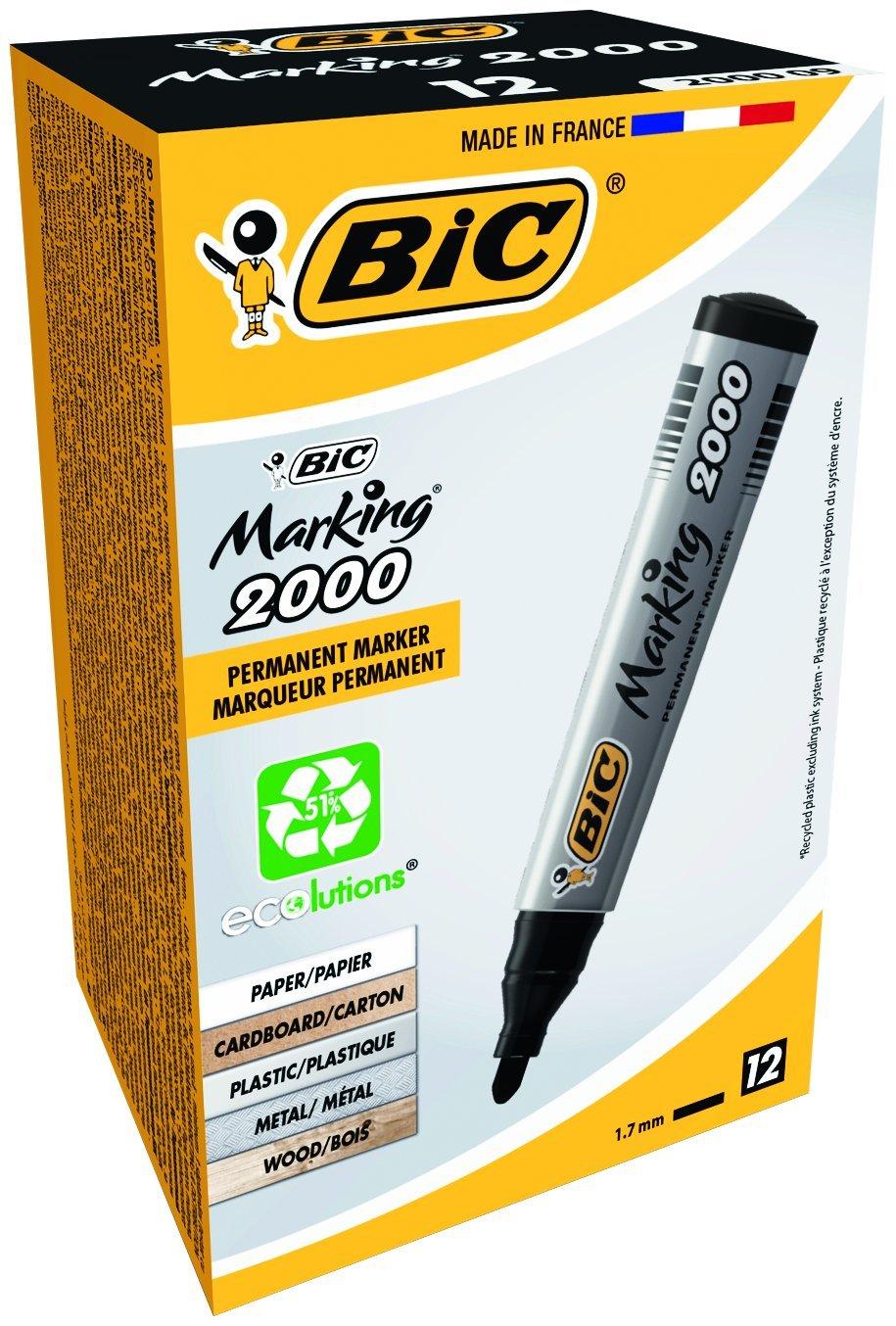 Bic Marking 2000 Ecolutions Marcatore Permanente Confezione 12 Marcatori Colore Nero 8209153 B000071LUP