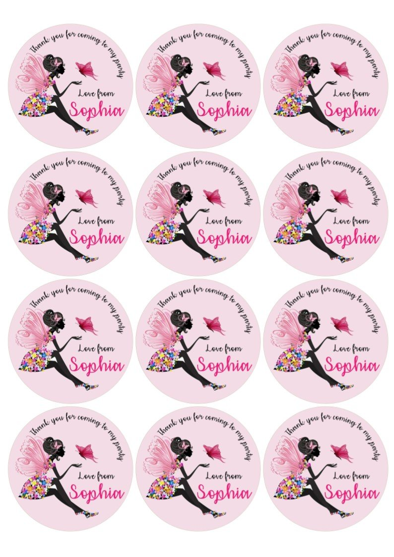 OSP Personalised birthday party labels fairy and butterfly design round 6 on an A4 sheet