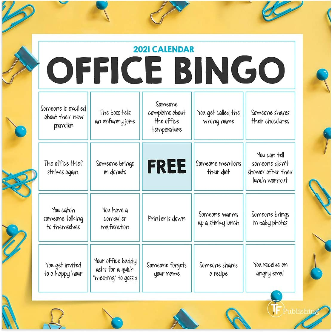 "TF PUBLISHING 2021 Office Bingo Mini Wall Calendar - Photographs with Contacts and Notes Space - Home or Office Planning and Organization in Compact Spaces - Premium Matte Paper 7""x7"""
