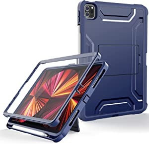 Supveco for ipad pro 11 inch case 2021 Release , Dual Layer Full Body Protection Cases for ipad pro 11 inch 3rd / 2nd Generation with Built-in Screen Protector Cover for ipad 11 pro 2020 -Dark Blue