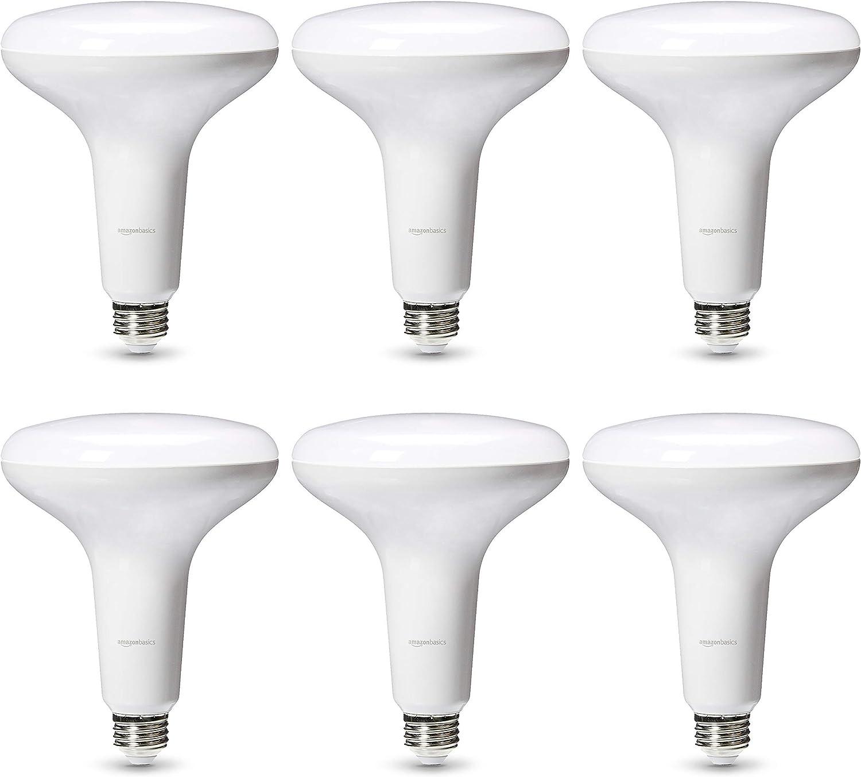 Renewed Dimmable Basics Commercial Grade LED Light Bulb Daylight BR40 LED 6-Pack 75-Watt Equivalent