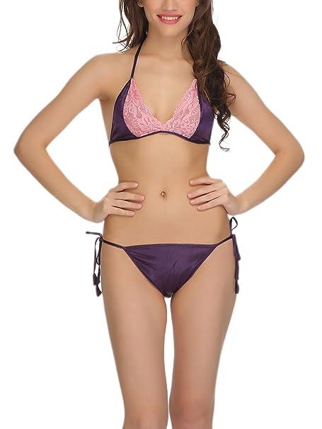 9d7eb0d4139 Clovia Women s Satin Bra-Brief Set In Purple -(NS0564E15