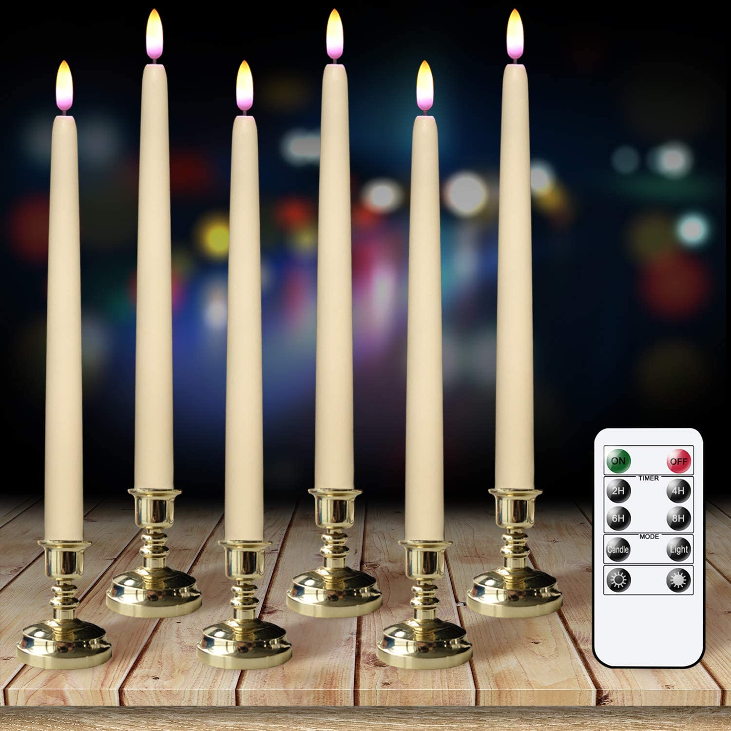 GenSwin Flameless Flickering Taper Candles with Remote Timer, Real Wax Battery Operated LED Light Window Candles with Removable Gold Candle Holders Pack of 6 Christmas Home Decor(Ivory)