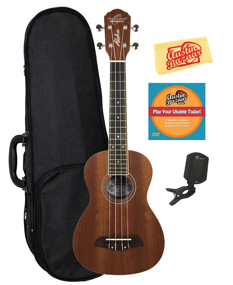 Oscar Schmidt by Washburn OU2 Concert Ukulele Bundle with Hard Case, Tuner, and Polishing Cloth - Mahogany Top, Back, and Sides OU2-COMBO-DLX