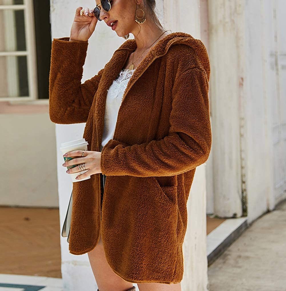 Women Faux Coat Winter Warm Fuzzy Shearling Fleece Long Sleeve Hooded Cardigan with Pockets