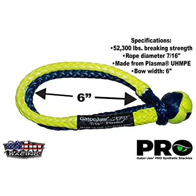 Gator-Jaw 176745PRO Synthetic Soft Shackle (52,300LB Breaking Strength) Blue & Yellow: Automotive