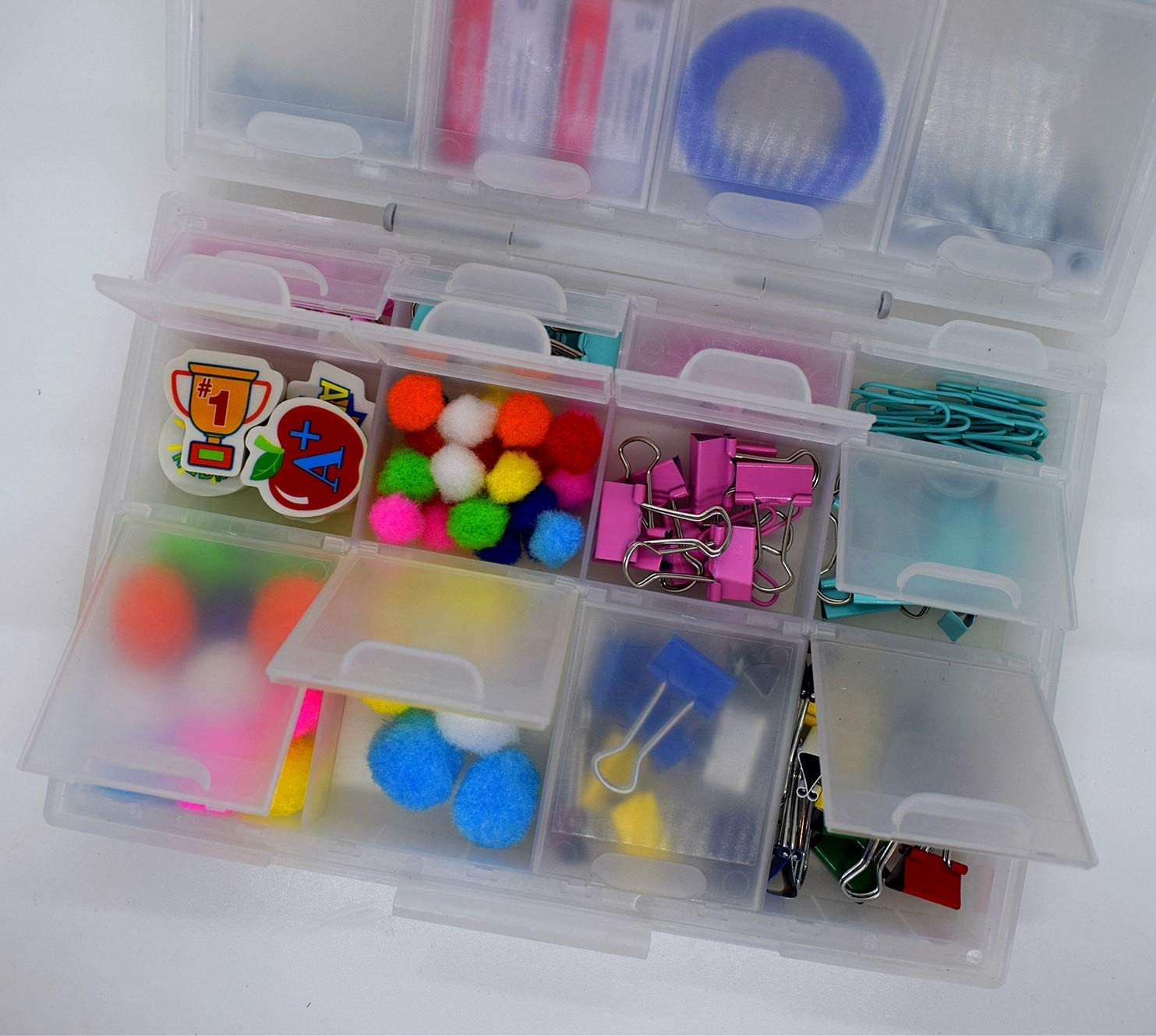Aidetek Half Transparent BOX-ALL-24 Small Parts Beads Stationery Jewelry Box Organizer for Sorted Parts 3 Sizes 24 compartments with lid