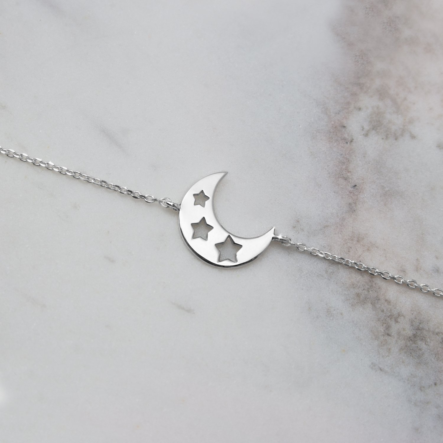 Crescent Moon Bracelet, 9K, 14K, 18K White Gold, Moon Star Charm Bracelet, White Gold Moon With Stars