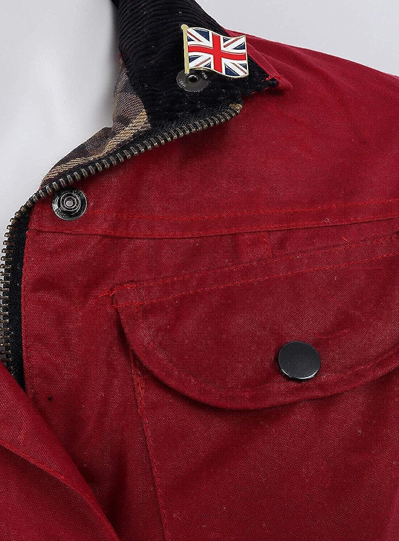 Nicky Adams Femmes Premium Coton Imperméable Cire Veste Avec Ceinture Rouge