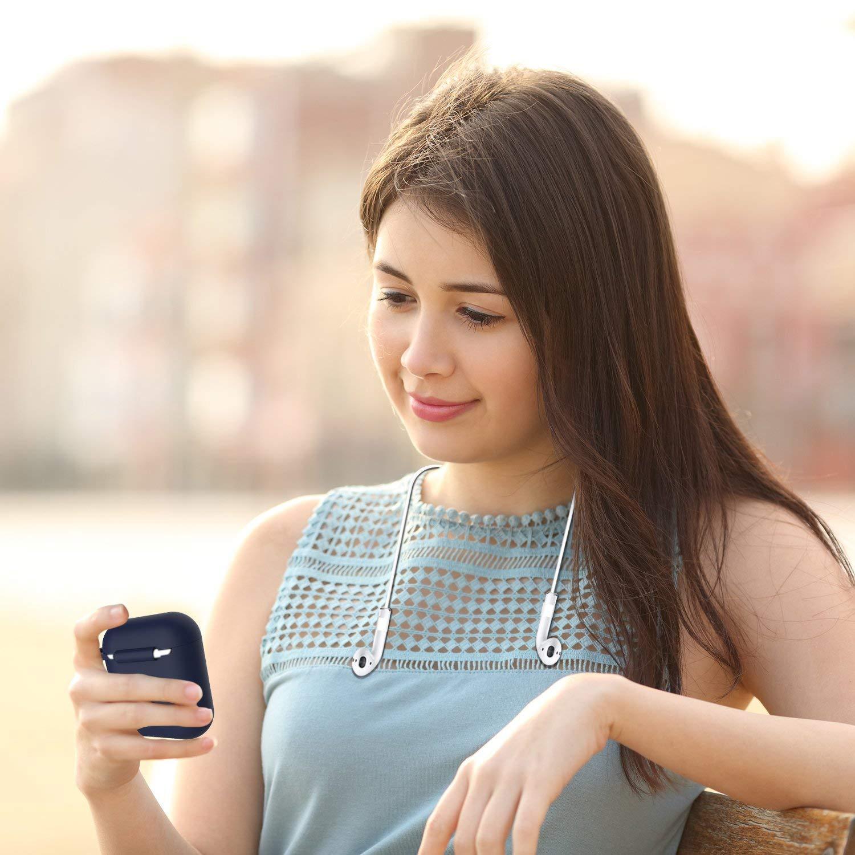 Airpods casque Coque en silicone avec sangle de sport, Gulaki Airpod Boîte à suspendre antidérapant avec housse et de peau Accessoires sans fil pour Apple Airpods casque étui de chargement (Dark Blue 4 in 1)