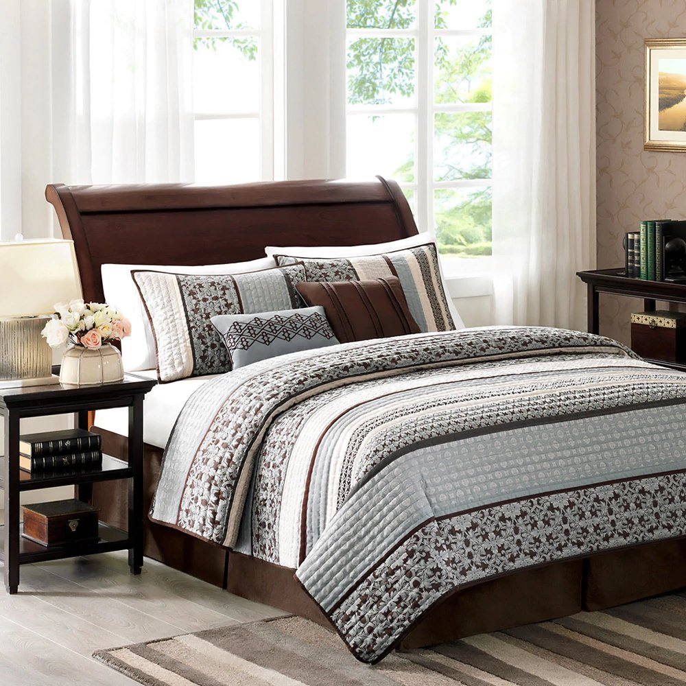White Brown and Blue Cotton and Polyester, 5-piece King Coverlet Set and Contemporary Style Included Cross Scented Candle Tart