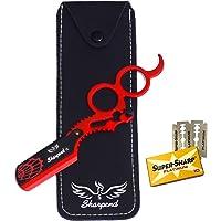 Barber Straight Edge Razor, Professional Sharpend Barber Cut Throat Razor For Men - Double Ring Barber Razor Shaving…