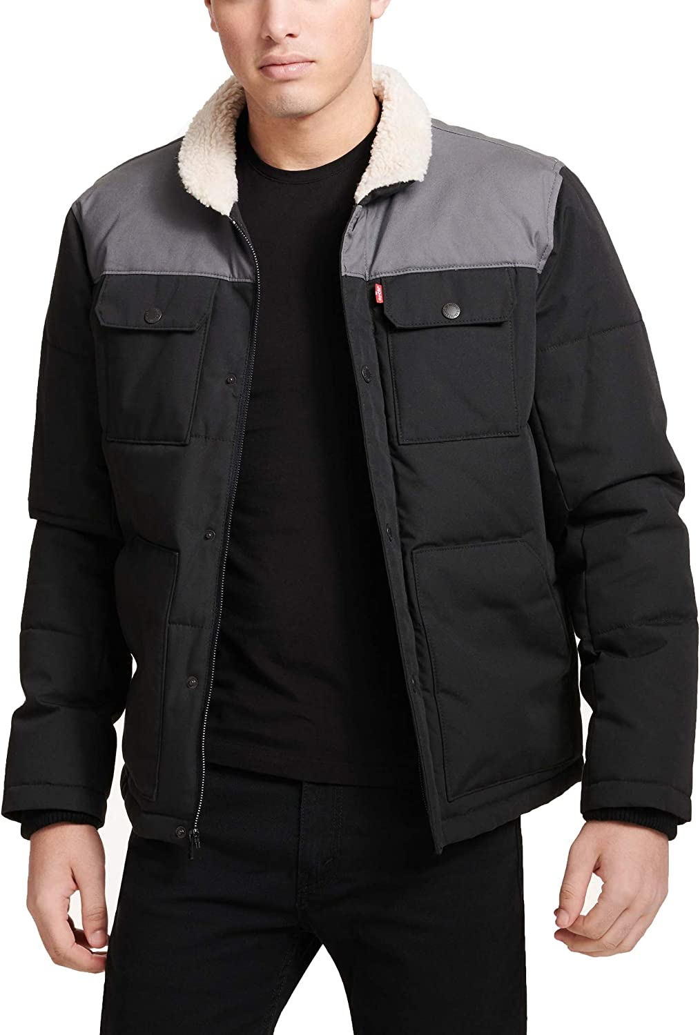 Levi's mens Quilted Mixed Media Shirttail Work Wear Puffer Jacket at Amazon Men's  Clothing store
