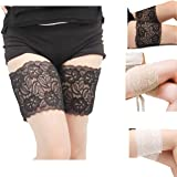 Poplife Summer Women Elastic Anti-Chafing Lace Non Slip Leg Warmer Pocket Thigh Chafing Thigh Bands