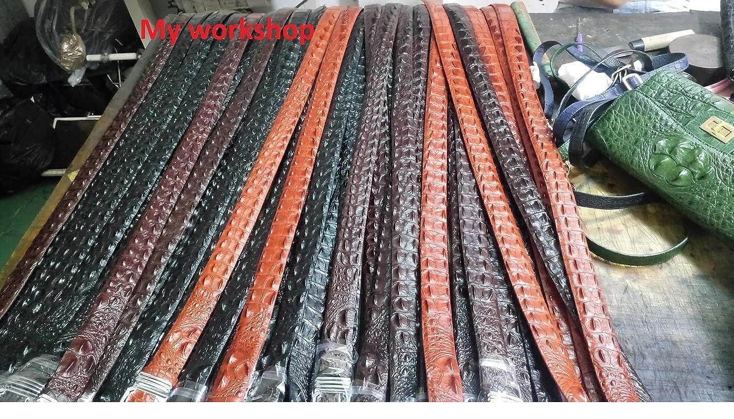 NoJointed # Mens Belt Genuine Crocodile Alligator Skin Leather Belt Handmade BLACK,Width : 1.5 x 44 in length of belt excluding the buckle TL10