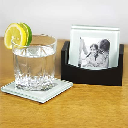 Amazon.com: Fifth Avenue Crystal Glass Photo Coasters with Caddy ...
