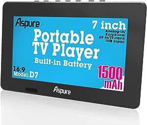 7 Inch portátil pequeño LED TV Digital DVB-T para Coche, Camping, al Aire Libre o Cocina. Integrado Recargable Televisión/Monitor