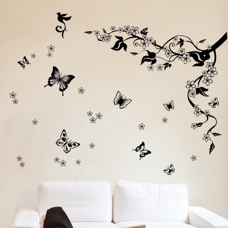 walplus removable vinyl wall art sticker dancing butterflies and walplus removable vinyl wall art sticker dancing butterflies and tree branch amazon co uk kitchen home