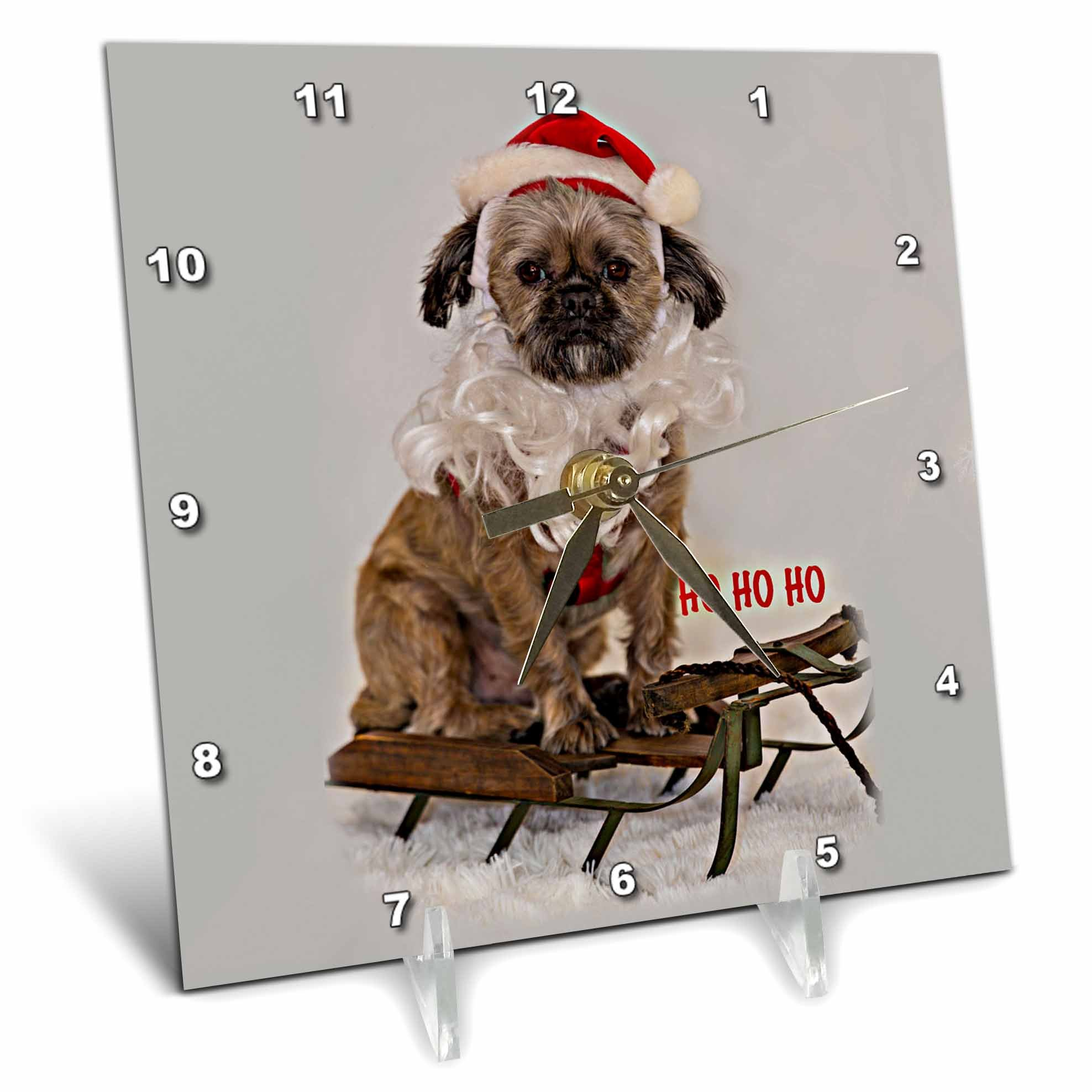 3dRose Sandy Mertens Christmas Animals - Little Dog on Sled with Santa Beard and Hat Costume Image - 6x6 Desk Clock (dc_269517_1)