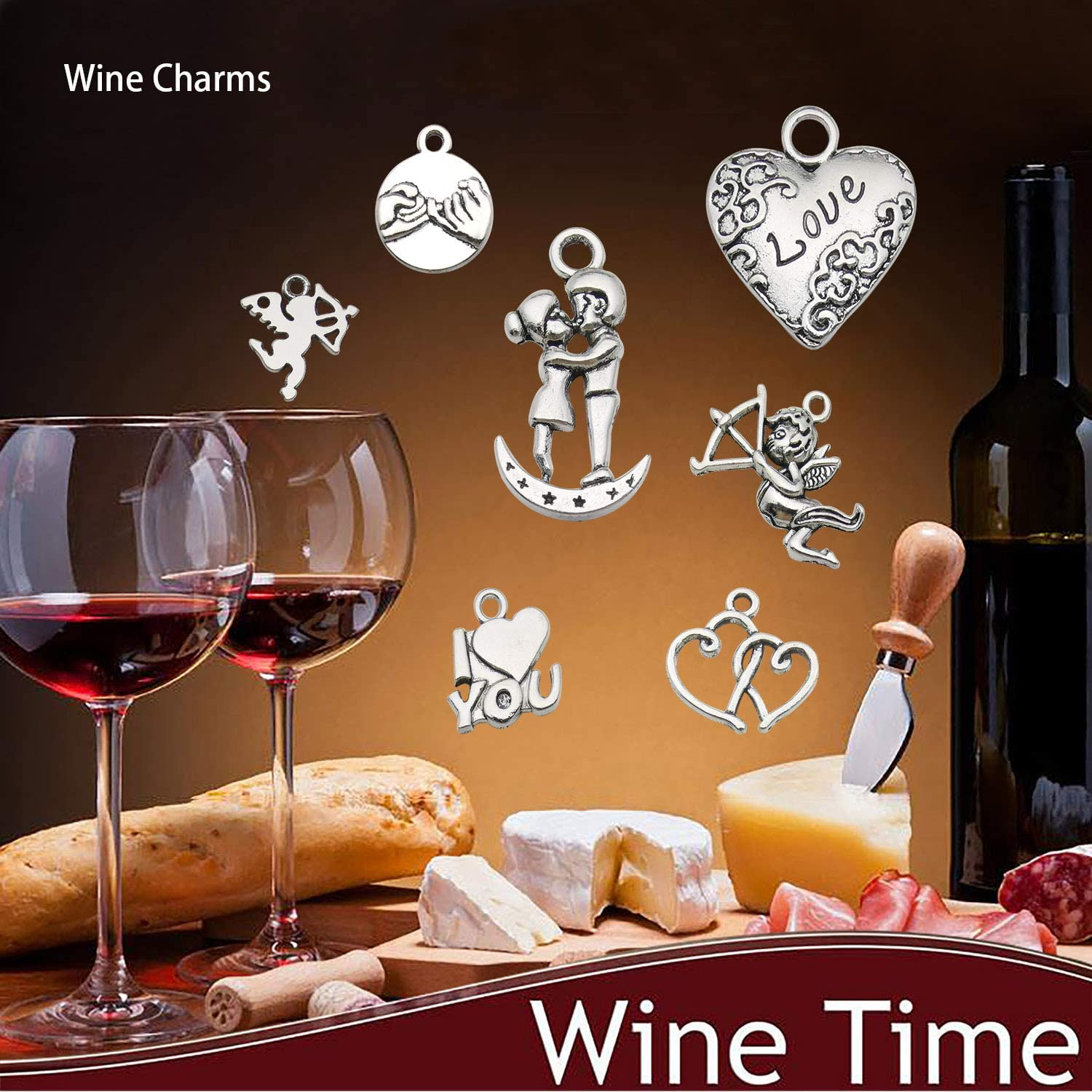 Wedding or Event Package Wine Charms Fifty Wine Charms High Grade Handmade in the United States Using Natural Stones and Glass Beads