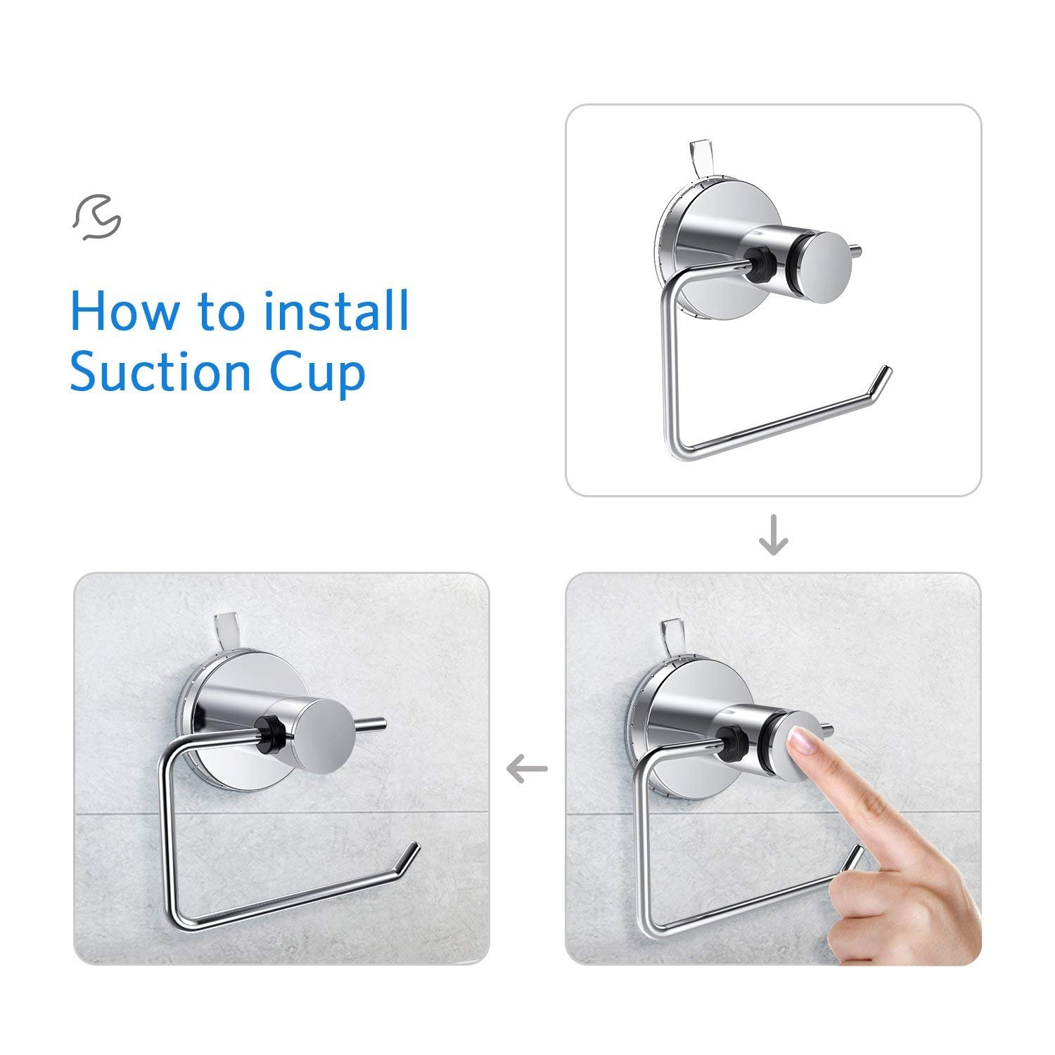 CQSTIME Toilet Roll Holder & Suction Cup Holder | Perfect Household Accessory | Ideal for Toilets & Bathrooms | Stainless Steel Chrome Finish | Easy to Install & Remove | Works on all Flat Surfaces by CQSTIME (Image #4)
