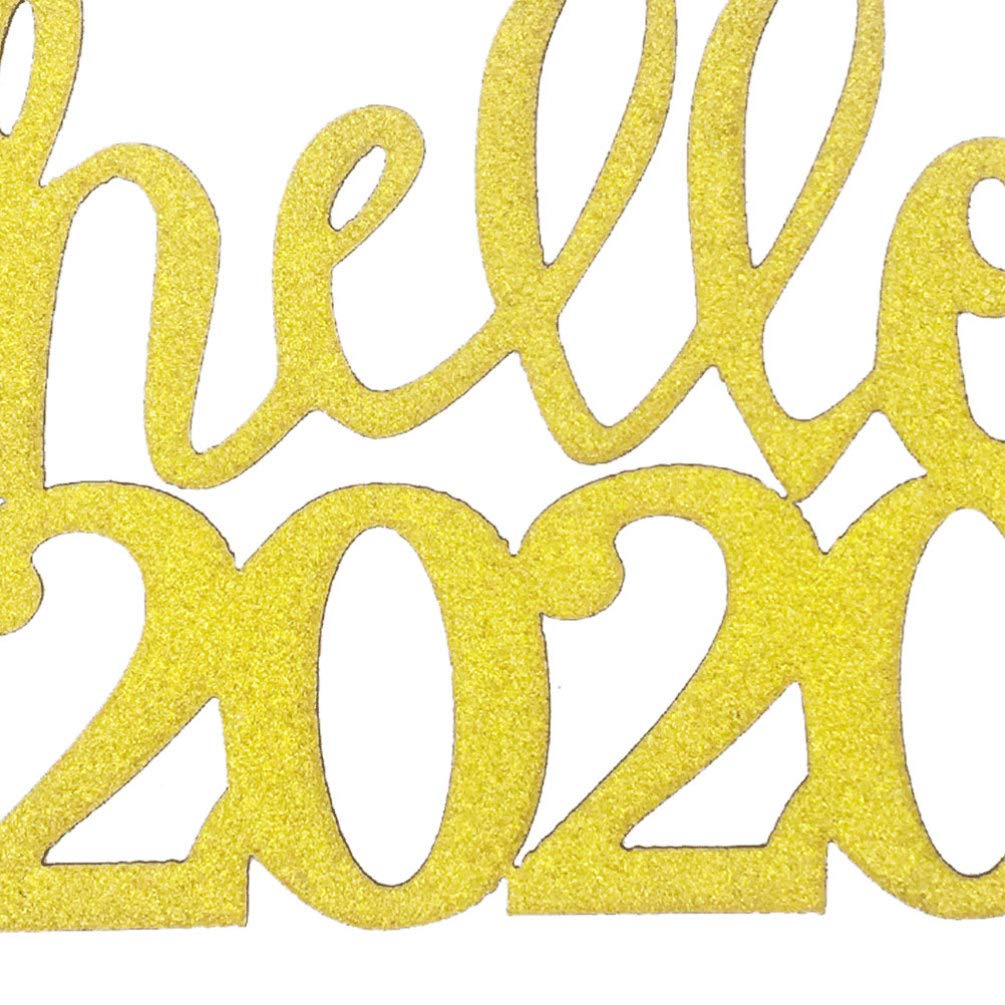 Argent Amosfun 12pcs Bonjour 2020 Bonne ann/ée g/âteau Toppers Cupcake Toppers 2020 Nouvel an Veille d/écorations de f/ête Fournitures