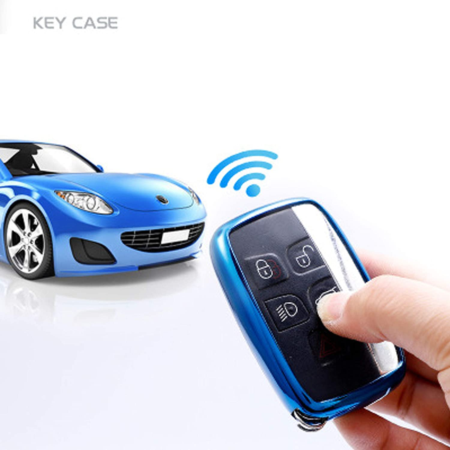Red Soft TPU Smart Key Fob Case Holder Jacket Protector for Range Rover Evoque Velar Sport Discovery Freelander2 LR4 Land Rover Sport and Jaguar XF XJ XE F-PACE F-Type