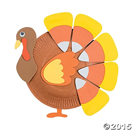 Oriental Trading Paper Plate Candy Corn Turkey Craft Kit  sc 1 st  Amazon.com : paper plate turkey craft - pezcame.com