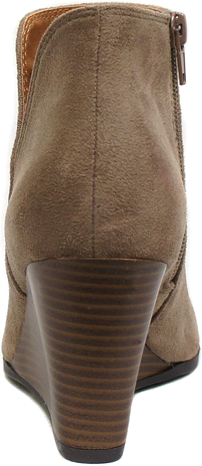 Mid Ankle Bootie w//Split Shaft and Zipper Stacked Wedge Heel Soda Ability