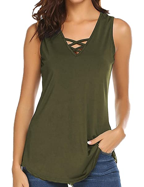 Sechico Women s Criss Cross Casual Cami Shirt Sleeveless Tank Top Basic  Lace up Blouse(Army