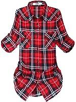 OCHENTA Women's Mid-Long Style Roll-Up Sleeve Plaid Flannel Shirt