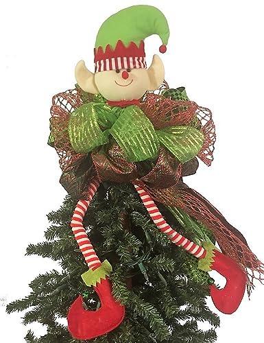 Whimsical Running Elf Christmas Tree Topper